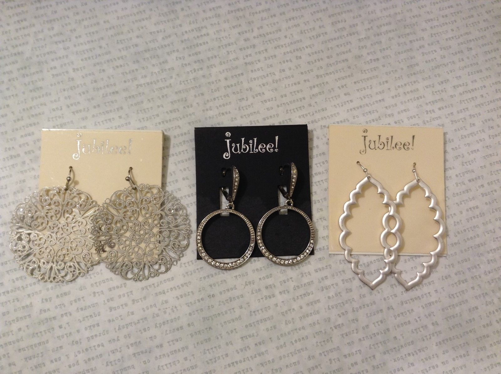 NEW Jubilee Silvertone Metal Earrings