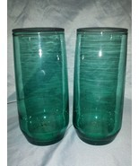 Anchor Hocking Green Glass Tumblers Drinking Glasses Pair, Vintage 1960'... - $11.87