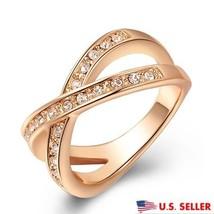 USA Women 18K Rose Gold Plated Austrian Crystal Criss Cross Setting X Ring - $324,26 MXN