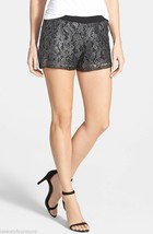NWT $88 LA Made LAMade Mayra Metallic Foil Lace Shorts in Black sz M - $19.74