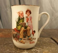 "Norman Rockwell ""The Cobbler"" 1982 Porcelain With Gold Trim Coffee Mug T... - $5.44"