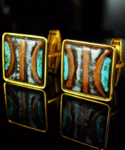 Enamel cufflinks Vintage cufflinks artisan Cufflinks turquoise cufflinks moderni - $85.00
