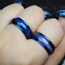 US 2Pcs Blue Cat Eye Enamel Top Stainless Steel Couple Ring Set Blue rings - $324,26 MXN