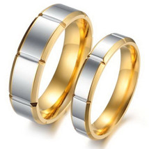 2PCS 18k Gold Titanium Steel Couple Ring Set Engagement Promise Wedding ... - $364,62 MXN