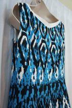 Anne Klein Dress Sz 12 Capri Blue Multi Sleeveless V-Neck Swing Career Cocktail image 12