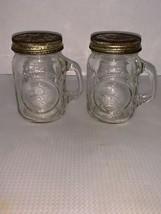 Vintage Anchor Hocking Golden Harvest Glass Mason Jar Salt & Pepper Shakers - $5.00