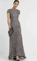 Adrianna Papell Short Sleeve Sequin Mesh Gown Dress Sz 8 Leads - $136.80