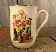 "Norman Rockwell ""The Toymaker"" 1982 Porcelain With Gold Trim Coffee Mug ... - $5.44"