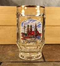 Munchen, Germany Cityscape Skyline 2.5L Gold Trim Dimpled Glass Beer Ste... - $13.81