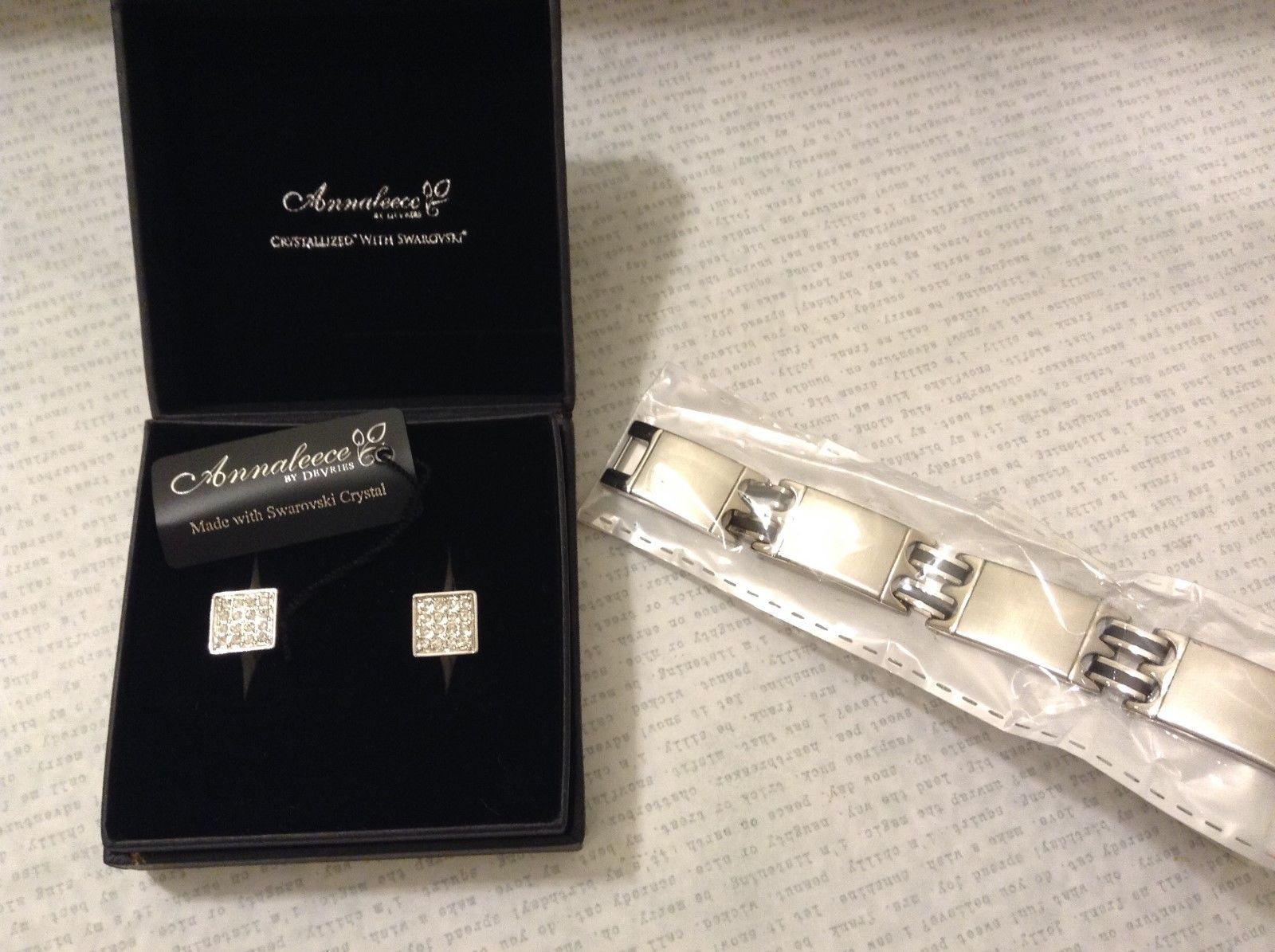 Annaleece by Devries Swarvoski Crystal Cuff Links MAD Stainless Steel Bracelet