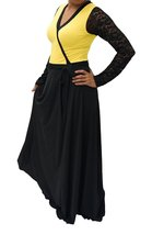 DBG Women's Yellow Polyester Long Sleeves Lace Maxi -5X - $42.56