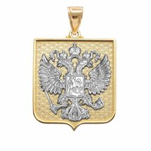 14k Two-Tone Gold Russian Federation Coat of Arms Double-Headed Eagle Pe... - $819.99