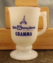 Vtg Walt Disney World White Coffee Mug Milk Glass Footed Pedestal Stamped Gramma - $11.87