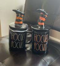Rae Dunn Halloween Mug & Candle Set  Black Hocus Pocus with Witch Leg To... - $79.99