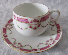 ANTIQUE CROWN BAVARIA CHINA CUP & SAUCER PINK ROSE - $18.80