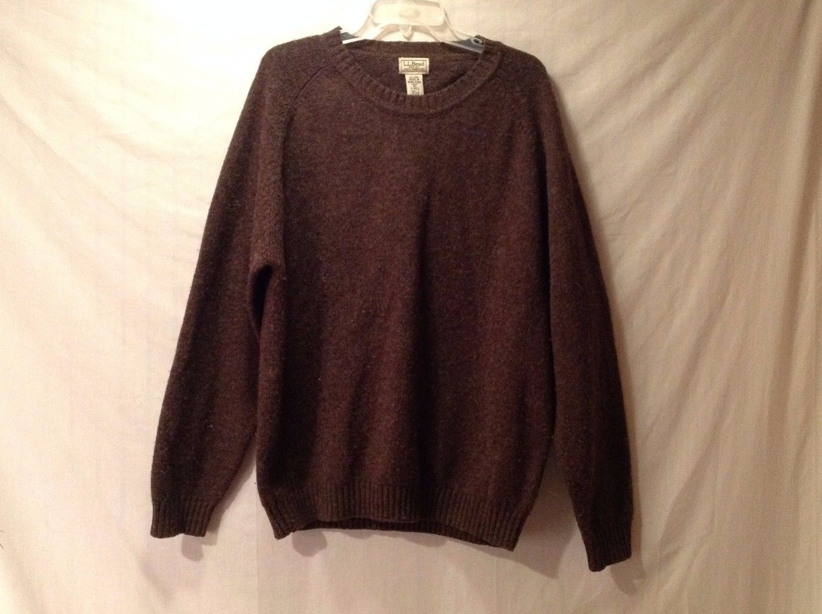 Good Condition L.L. Bean 100% Wool Brown Sweater Size L Crew Neck Men's