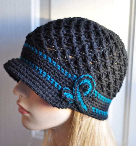 Ovarian Cancer Awareness Crochet Hat - Teal and Black Chemo Cap, Ovarian Cancer