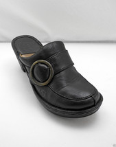 Born Black Leather Split Toe Clog - Gold Round Buckle/Strap - Women's Size 7 - $28.96 CAD