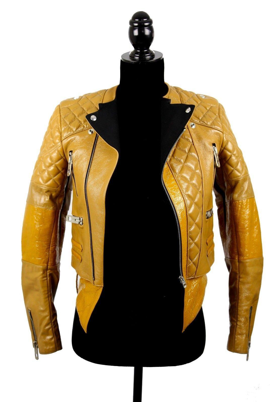 Balenciaga Caramel/Brown Leather Zip Up Moto Jacket Size:36