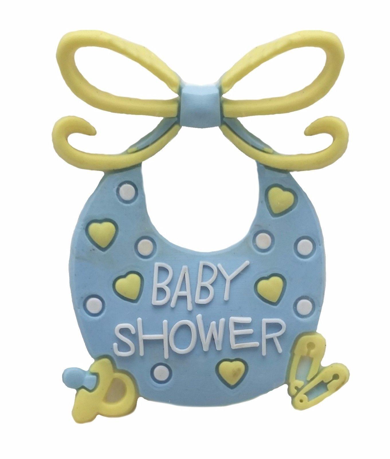 12 Flexible Pink Blue Bib baby shower favors appliques - 4 pk of 3