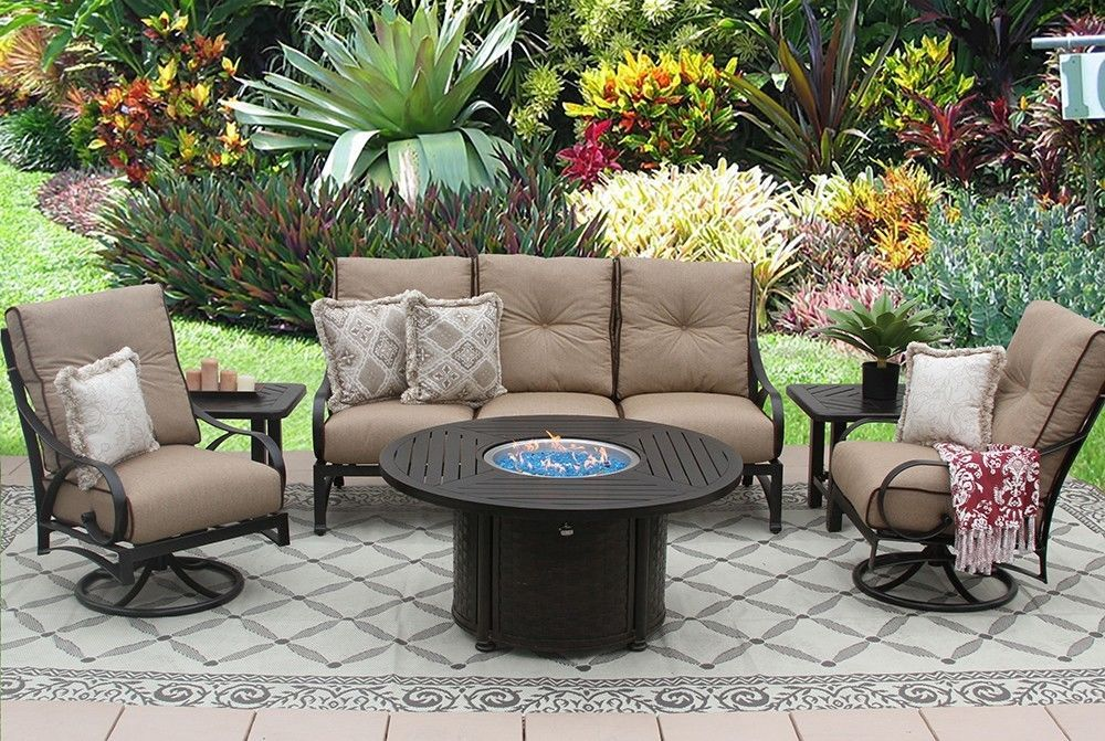 """OUTDOOR PATIO 6PC SOFA, 2-CLUB SWIVEL ROCKERS, 2-END TABLES 50"""" ROUND FIREPIT SE"""