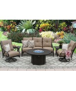 """OUTDOOR PATIO 6PC SOFA, 2-CLUB SWIVEL ROCKERS, 2-END TABLES 50"""" ROUND FI... - $6,226.11"""