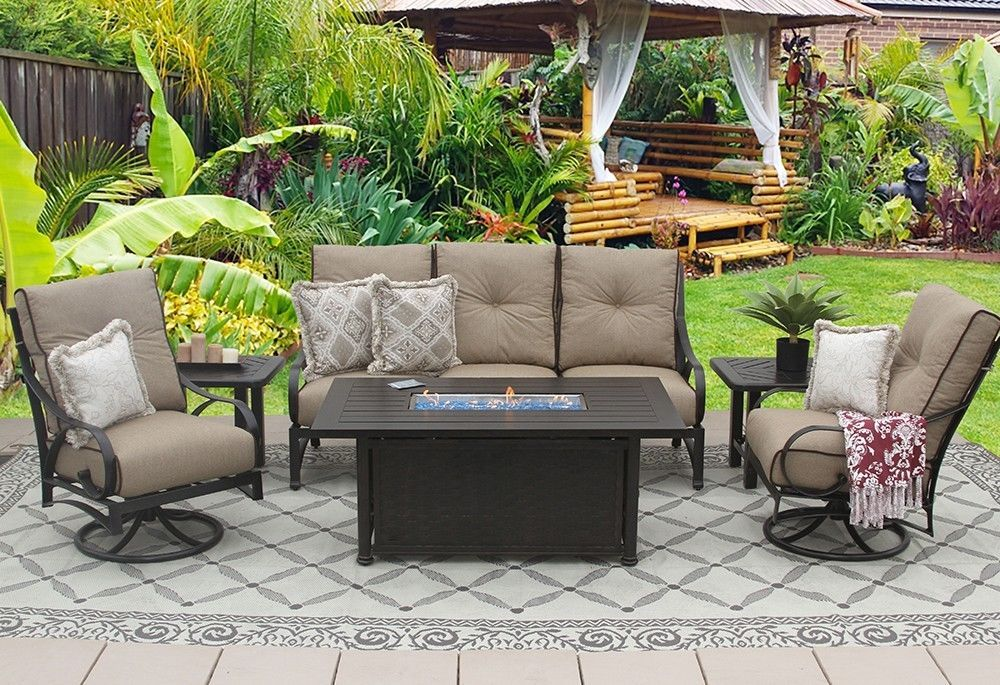 PATIO 6PC SOFA, 2-CLUB SWIVEL ROCKERS, 2-END TABLES 34X58 RECTANGLE FIREPIT