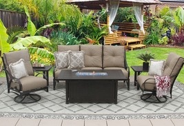 PATIO 6PC SOFA, 2-CLUB SWIVEL ROCKERS, 2-END TABLES 34X58 RECTANGLE FIREPIT - $6,095.43