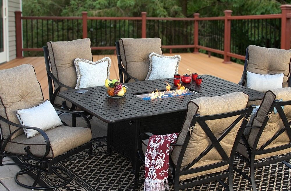 OUTDOOR PATIO 7 PC DINING SET 44X84 DINING FIRE TABLE SERIES 7000