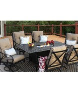 OUTDOOR PATIO 7 PC DINING SET 44X84 DINING FIRE TABLE SERIES 7000  - $6,683.49