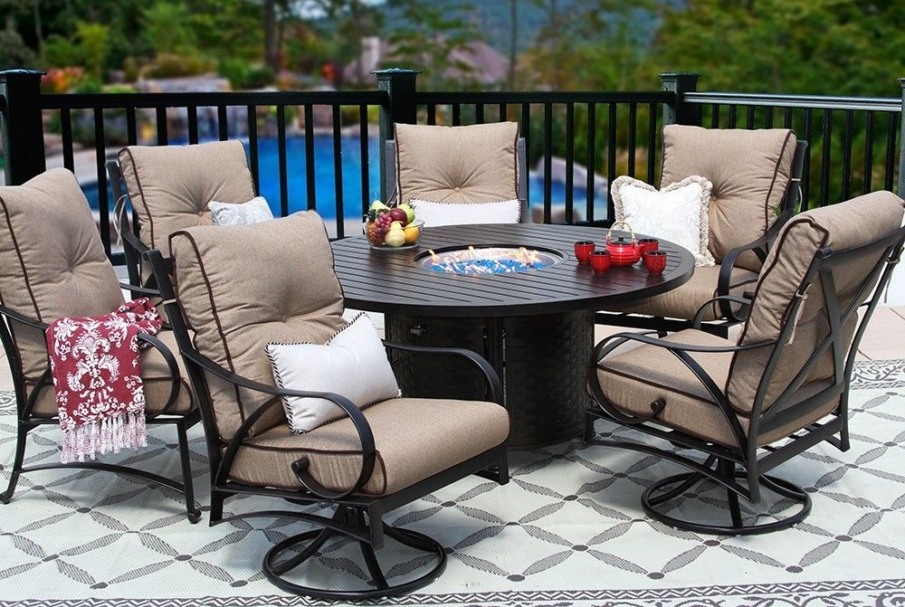 OUTDOOR PATIO 7PC DINING SET 60 INCH ROUND DINING FIRE TABLE SERIES 4000