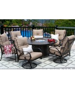 OUTDOOR PATIO 7PC DINING SET 60 INCH ROUND DINING FIRE TABLE SERIES 4000 - $6,030.09