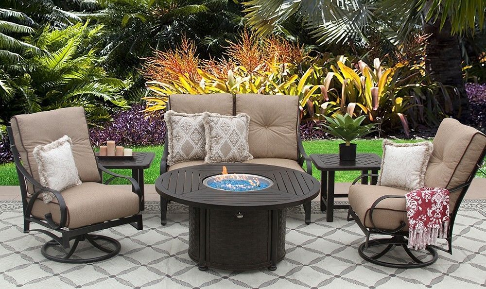 """PATIO 6PC LOVESEAT, 2-CLUB SWIVEL ROCKERS, 2-END TABLES 50"""" ROUND FIRE PIT"""