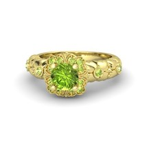1.77 Ct Round Cut Peridot Garden Treasure Ring 925 Silver 14k Yellow Gold Fn - $89.99