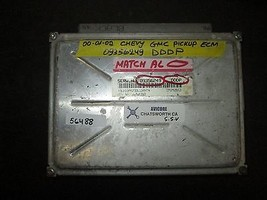 00 01 02 Chevy Gmc Pickup Ecm #09356249 Dddp *See Item Description* - $29.65