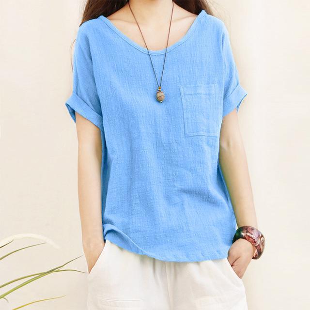 2018 Summer ZANZEA Women O Neck Blouse Short Sleeve Blusa Feminina Casual Shirt