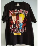 Vintage BEAVIS and BUTTHEAD Breakin the Law T Shirt Mens Large Black Cotton L - $20.79
