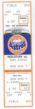 San Diego Padres @ Houston Astros 8/9/81 Phantom Ticket! 1981 Strike - $2.99