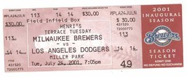 LOS ANGELES DODGERS @ MILWAUKEE BREWERS 7/24/01 Ticket! Gary Sheffield H... - $3.99