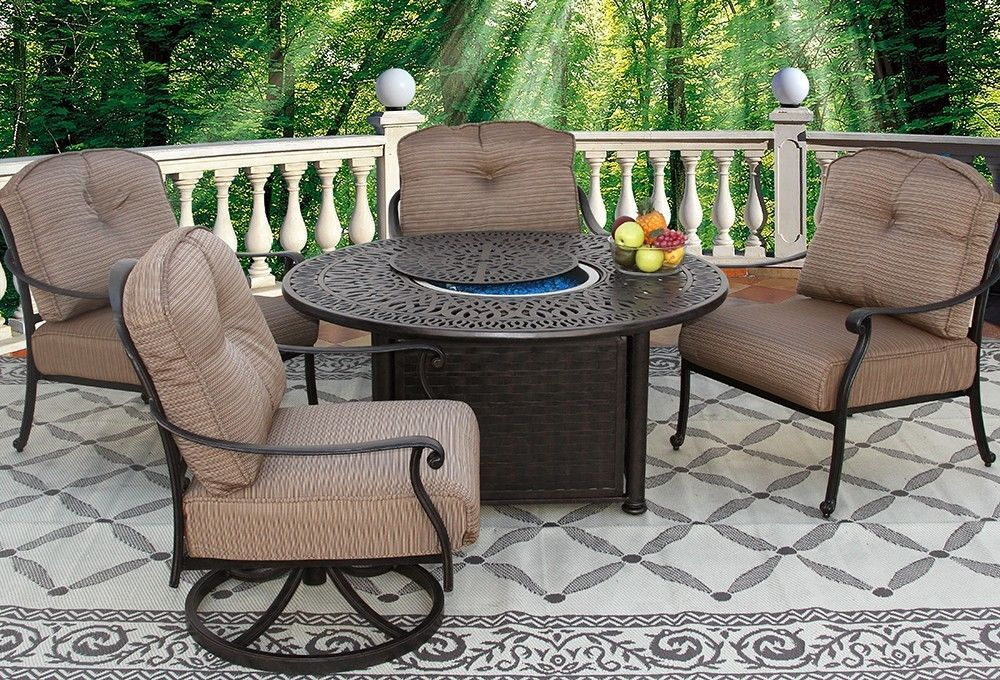 5 PC SET 2- CLUB SWIVEL ROCKERS, 2- CLUB CHAIRS 52 INCH ROUND FIRE TABLE