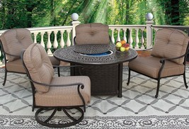 5 PC SET 2- CLUB SWIVEL ROCKERS, 2- CLUB CHAIRS 52 INCH ROUND FIRE TABLE - $4,953.96