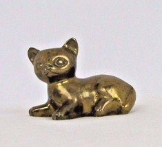 Vintage Brass Cat Figurine Kitten Laying Down Solid Metal Paperweight   - $24.74