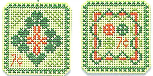 CLEARANCE St. Patrick's Day 7 cent Holiday Stamps cross stitch chart Handblessin