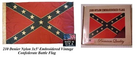 2-*USA MADE Vintage Antiqued Sewn Embroidered NYLON 3x5 CONFEDERATE Batt... - $34.99