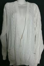 Vintage Perry Ellis Sweater Large L Cardigan Cotton White V-Neck       - $19.78