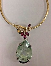New GIA Certified Huge 14.5ct green beryl Emerald diamond ruby 14k gold ... - $6,999.99