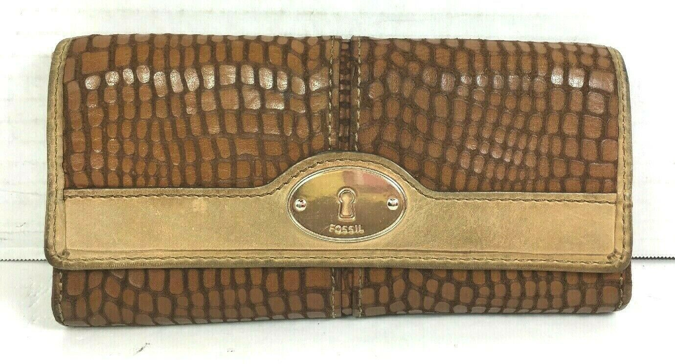 Primary image for Fossil Brown Leather Reptile Print Clutch Wallet – Well Worn