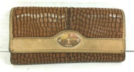 Fossil Brown Leather Reptile Print Clutch Wallet – Well Worn - $13.57