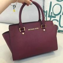 Michael Kors Women's Selma Medium Top Zip Satchel Satchel Handbag wine - $229.00