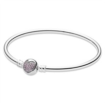 925 Sterling Silver You're in My Heart Bangle Bracelet with Pink Zirconia - $39.99